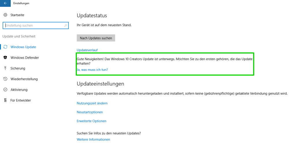 Microsoft bewirbt das Windows 10 Creators Update nun in den System-Einstellungen